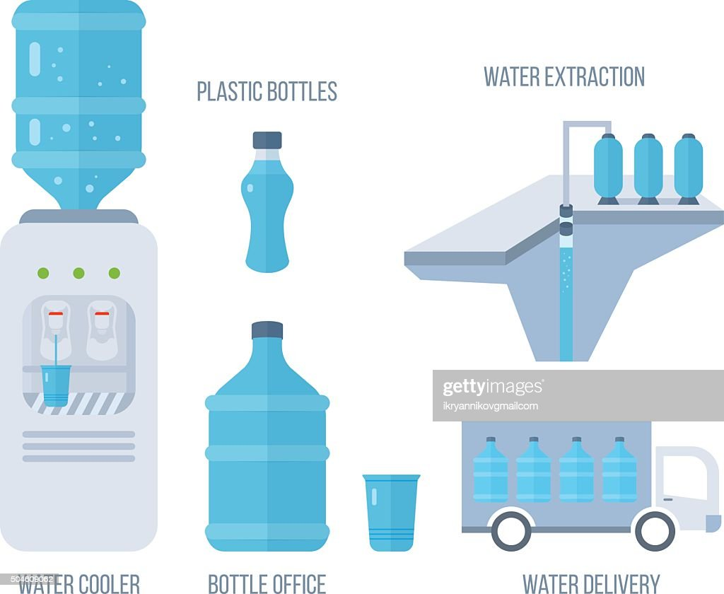 Water cooler. Bottle office, plastic and liquid.