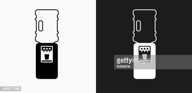water cooler icon on black and white vector backgrounds - water cooler stock illustrations