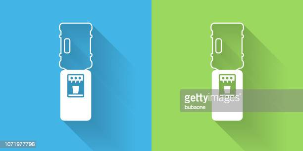 water cooler icon with long shadow - water cooler stock illustrations