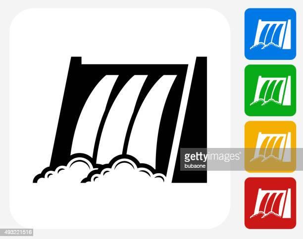 water dam icon flat graphic design - dam stock illustrations