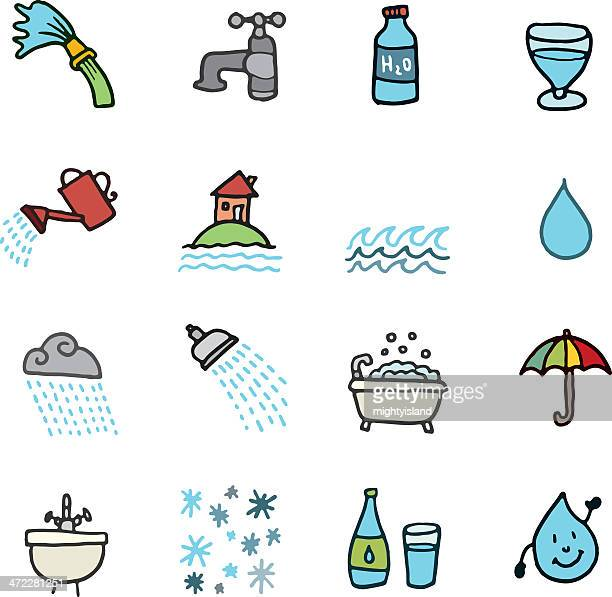 water doodle icon set - watering can stock illustrations