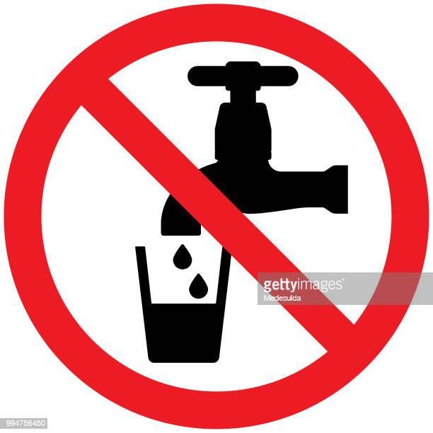 ilustraciones, imágenes clip art, dibujos animados e iconos de stock de agua bebida advertencia señal vectorial - agua potable