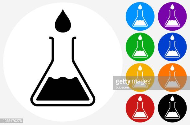 water drop and beaker icon - laboratory flask stock illustrations