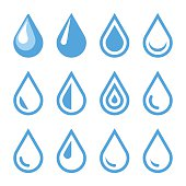 Water Drop Emblem. Logo Template. Icon Set. Vector