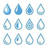 Water Drop Emblem. Logo Template. Icon Set. Vector