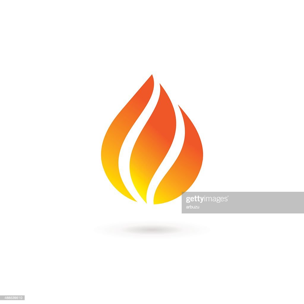 Water drop fire design template icon