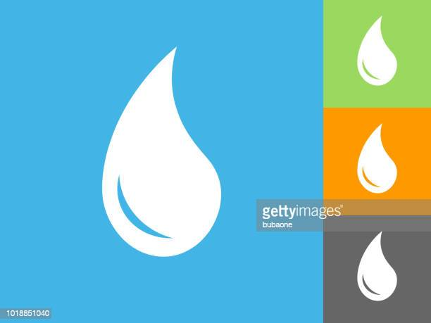 Water Drop  Flat Icon on Blue Background