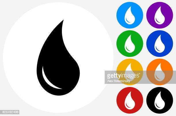 Water Drop Icon on Flat Color Circle Buttons