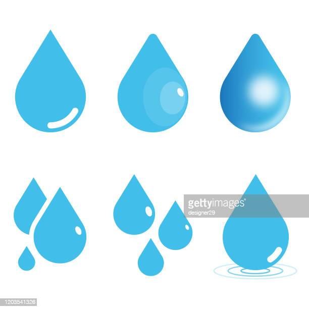 water drop icon set. raindrop vector illustration on white isolated background. flat and gradient style. - drop stock illustrations