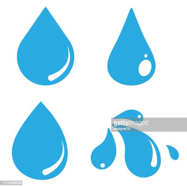 water drop icon set vector design on white background. - spray stock illustrations
