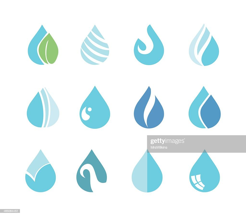 Water drop icon set vector illustration