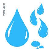 Water Drop Icon Set. Vector Raindrop Silhouette