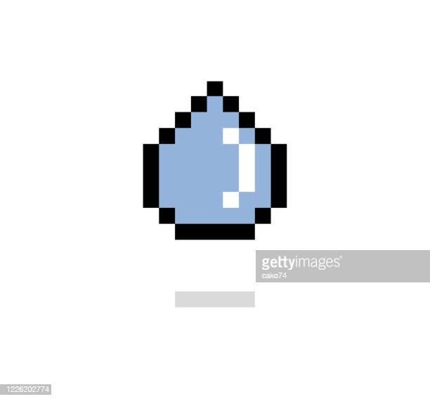 water drop pixel style - teardrop stock illustrations