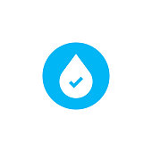Water drop with chek mark. vector illustration