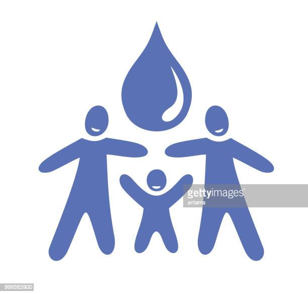 Water drop with family