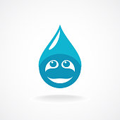 Water drop with fun face symbol