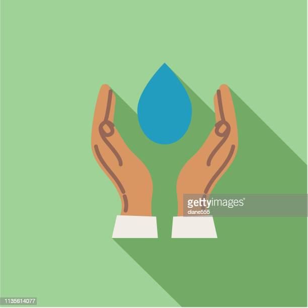 water droplet hands environment flat design icon - splashing droplet stock illustrations, clip art, cartoons, & icons