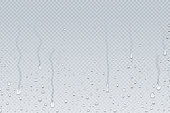 Water drops background. Shower steam condensation drips on transparent glass, rain drops on window. Vector realistic water drops