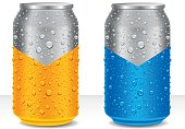 water drops on aluminum beer, juice, energy drink cans