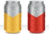 water drops on aluminum cans - beer, juice, energy drink