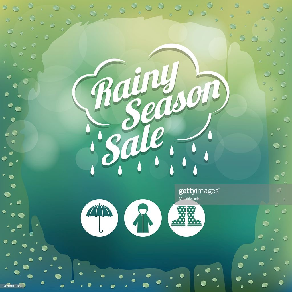 Water Drops on Glass Green Blur Background with Icons
