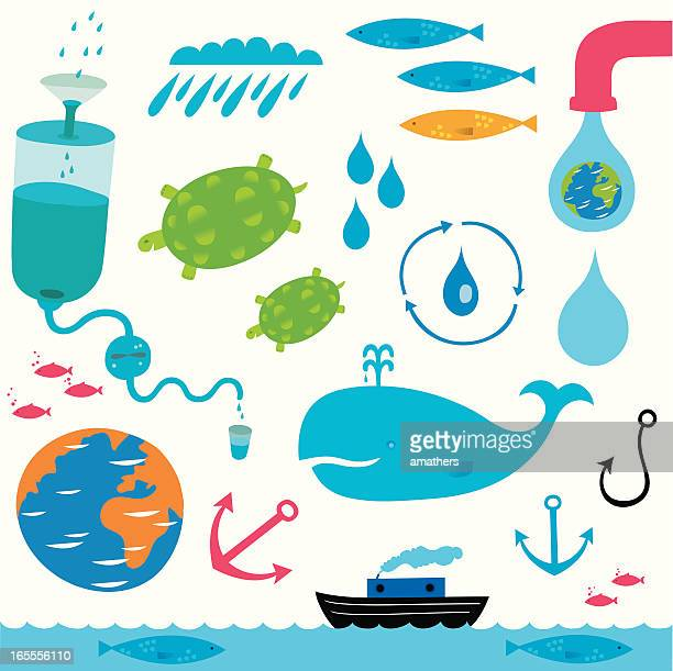 water, everywhere - water cycle stock illustrations, clip art, cartoons, & icons