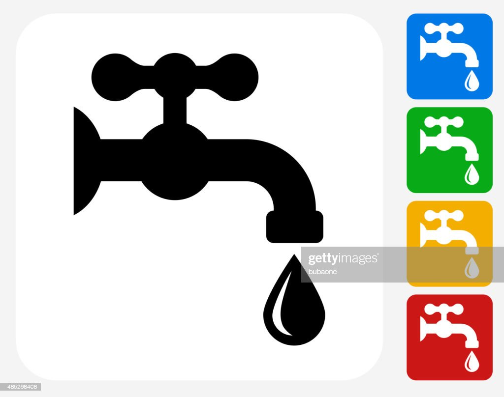 Water Faucet Icon Flat Graphic Design
