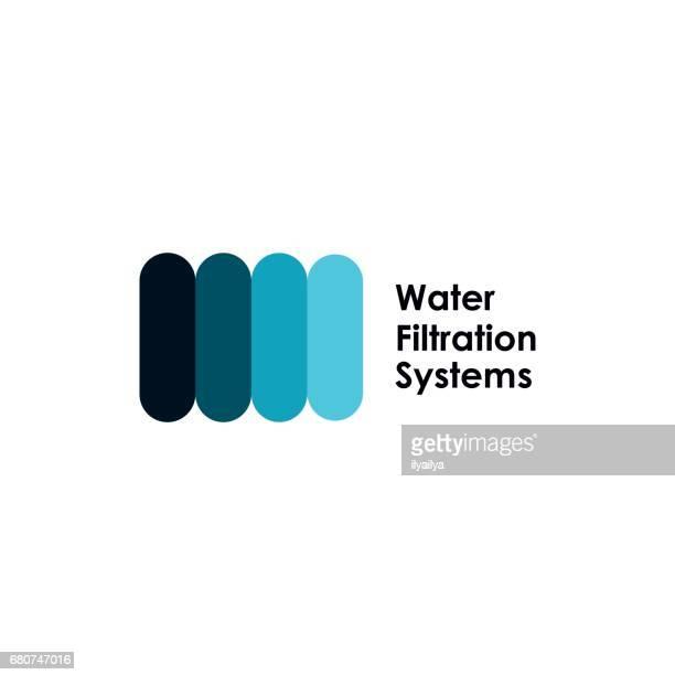 ilustraciones, imágenes clip art, dibujos animados e iconos de stock de icono de sistemas de filtración de agua - filtración