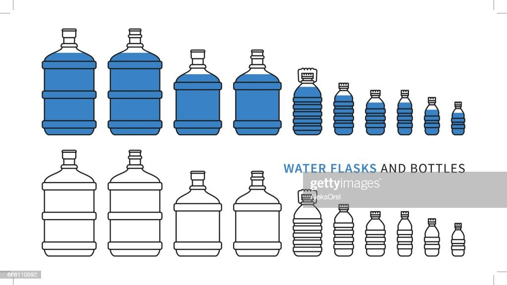 Water flasks and bottles vector illustration