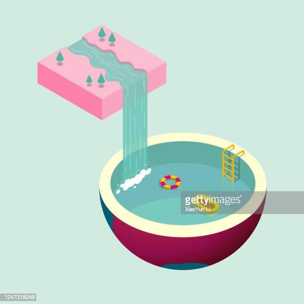 wasser fließt aus der luft nach unten, bilden einen wasserfall, in das schwimmbad, schwimmbad ist erde form. - schwimmbecken stock-grafiken, -clipart, -cartoons und -symbole