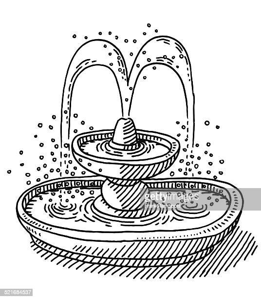 water fountain drawing - fountain stock illustrations, clip art, cartoons, & icons