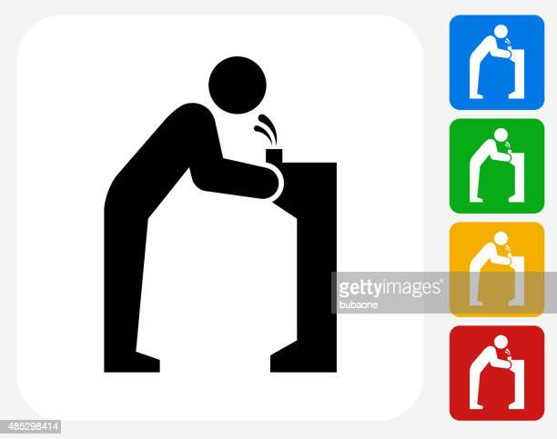 water fountain icon flat graphic design - fountain stock illustrations, clip art, cartoons, & icons