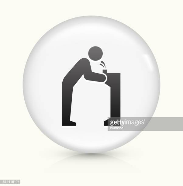 water fountain icon on white round vector button - fountain stock illustrations, clip art, cartoons, & icons