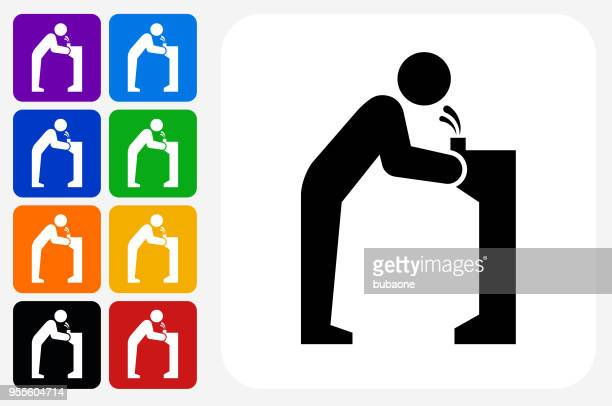 water fountain icon square button set - fountain stock illustrations, clip art, cartoons, & icons