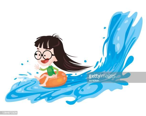 illustrations, cliparts, dessins animés et icônes de plaisir de l'eau - matelas pneumatique