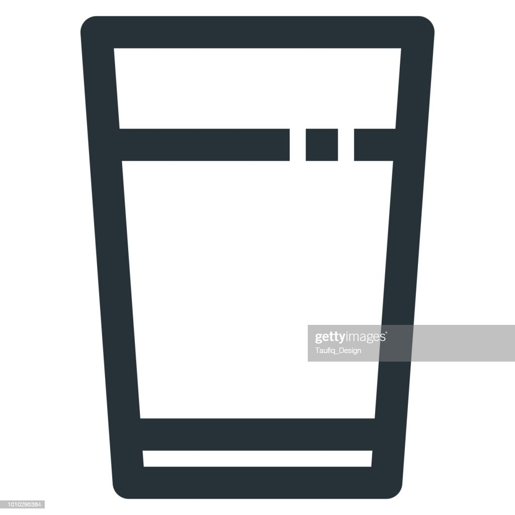 Water Glasses Vector Line Icon 32x32 Pixel Perfect. Editable 2 Pixel Stroke Weight. Medical Health Icon for Website Mobile App Presentation