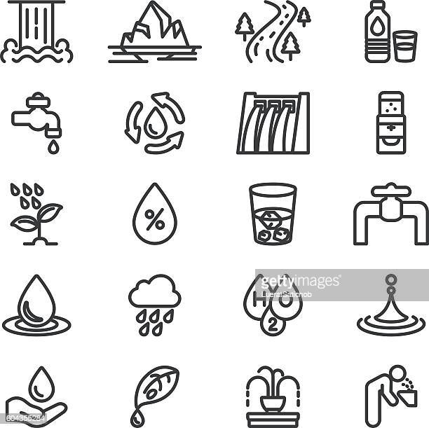 water h2o line icons | eps10 - fountain stock illustrations, clip art, cartoons, & icons