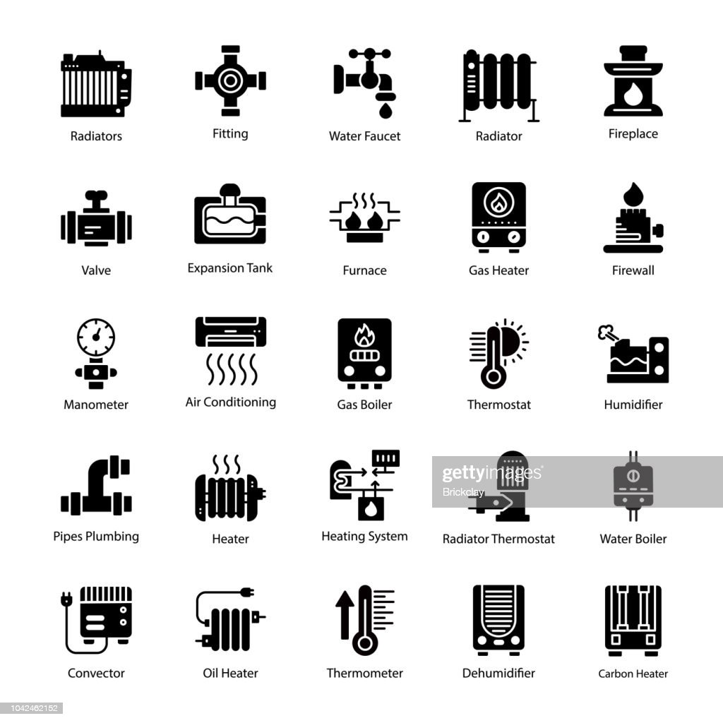 Water Heater Glyph Vector Icons