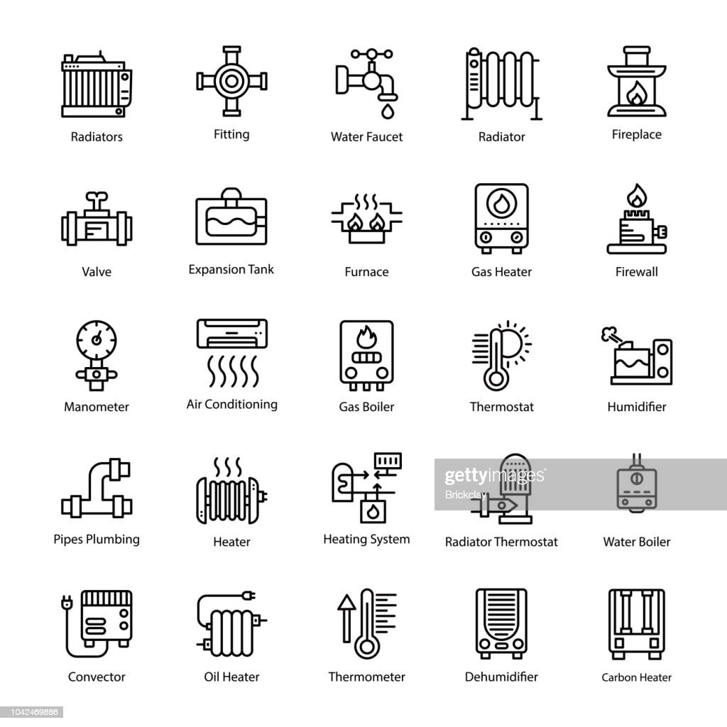 Water Heater Line Vector Icons