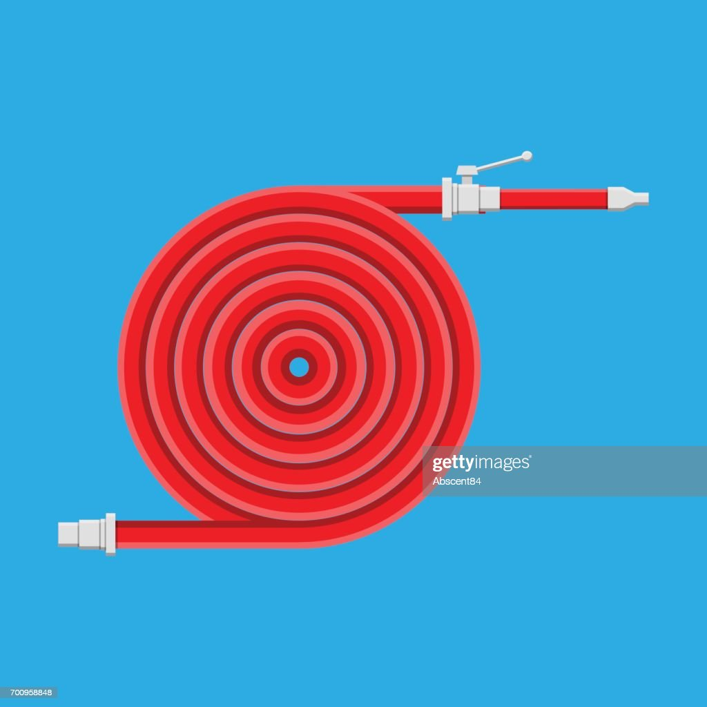 Water hose to extinguish the fire. Fire equipment.