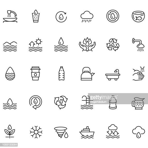 water icon set - water conservation stock illustrations