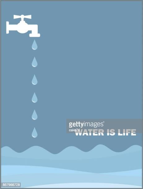 ilustraciones, imágenes clip art, dibujos animados e iconos de stock de agua es de vida - agua potable