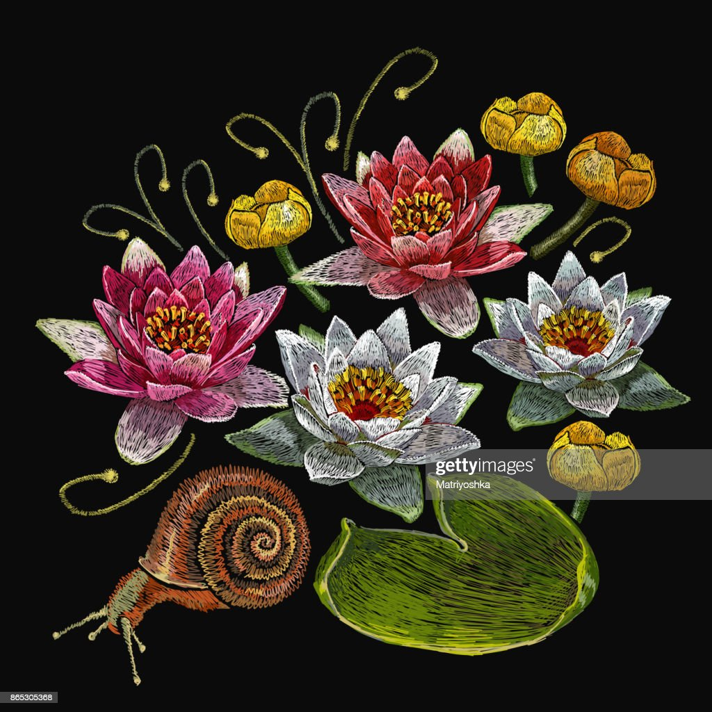 Water Lily Embroidery Classical Embroidery Lotus And Water Pink And ...