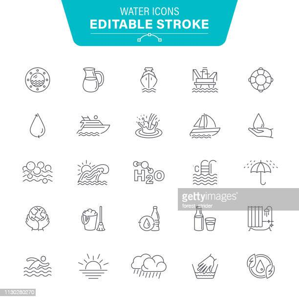water line icons - purity stock illustrations