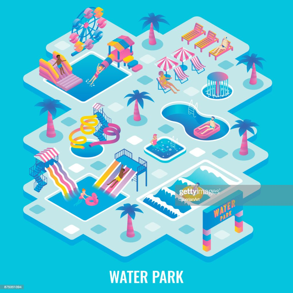 Water park concept vector flat isometric illustration