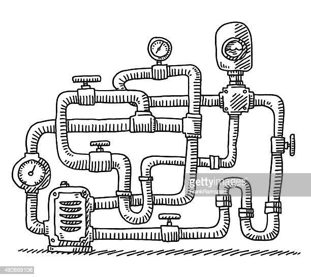 Wasserrohr Closed Circuit Zeichnung