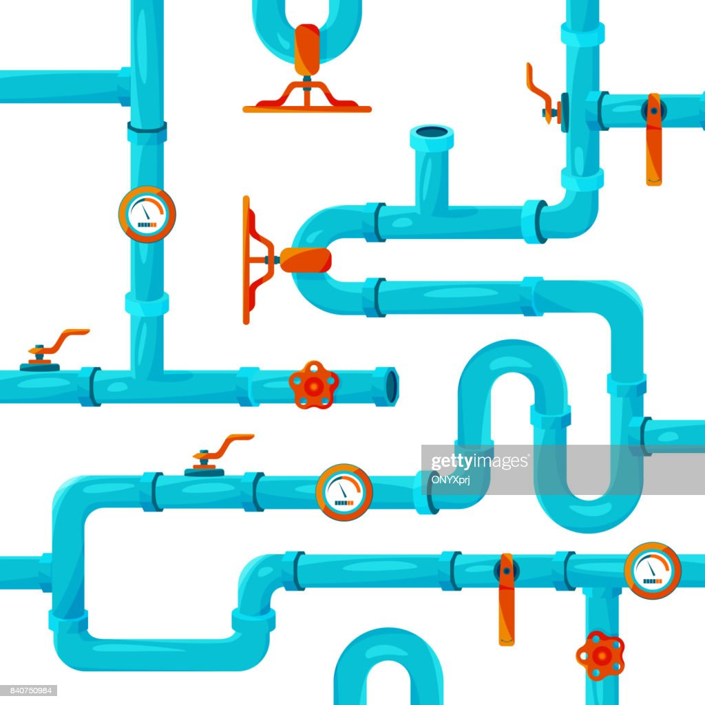 Water pipeline system installation. Vector background picture