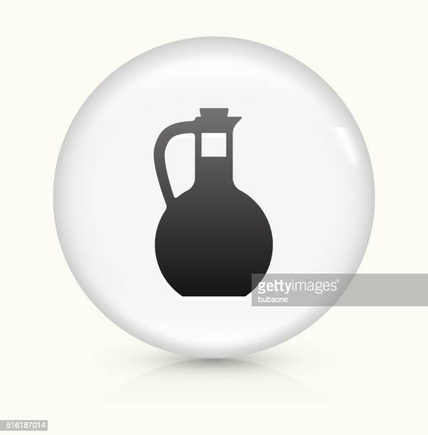 water pitcher icon on white round vector button - jug stock illustrations, clip art, cartoons, & icons