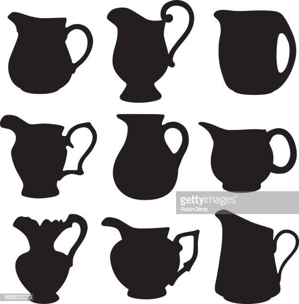 water pitcher silhouettes - jug stock illustrations, clip art, cartoons, & icons