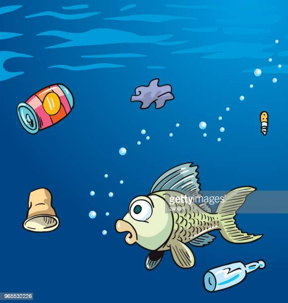 water pollution in the ocean. garbage, waste. eco concept. - water pollution stock illustrations